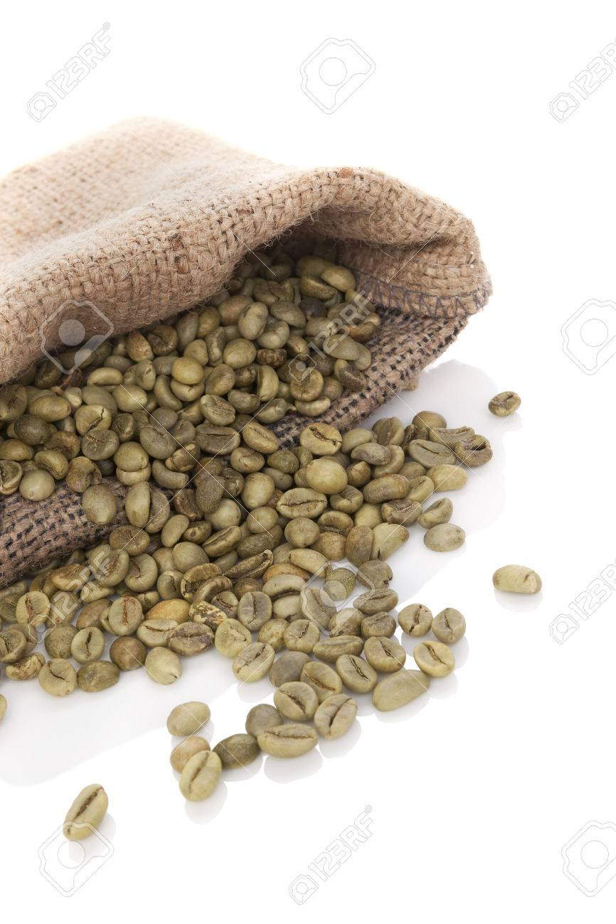Green Coffee Beans In Burlap Bag Isolated On White Background