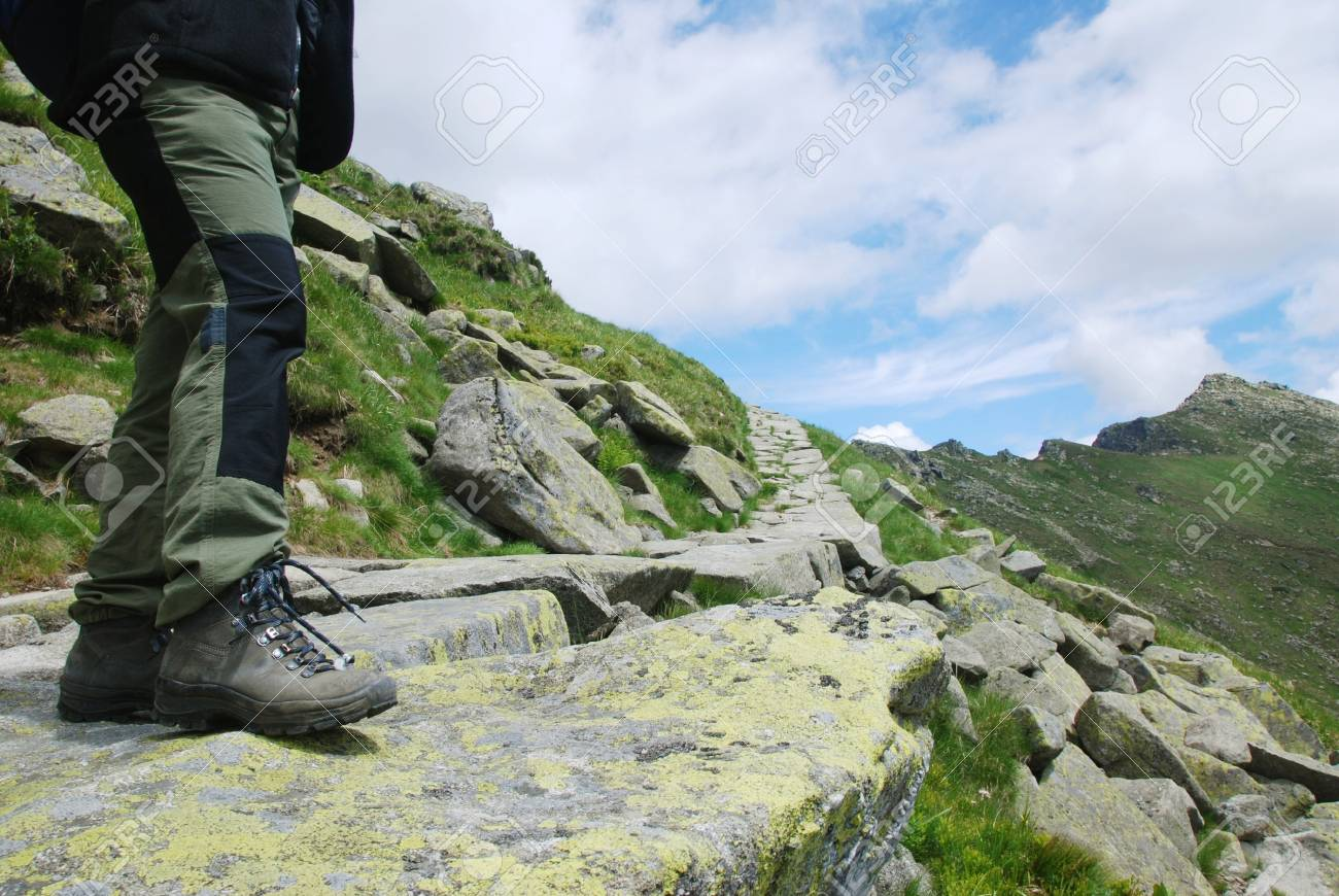 Detail of hiker legs in mountains Stock Photo - 4234707
