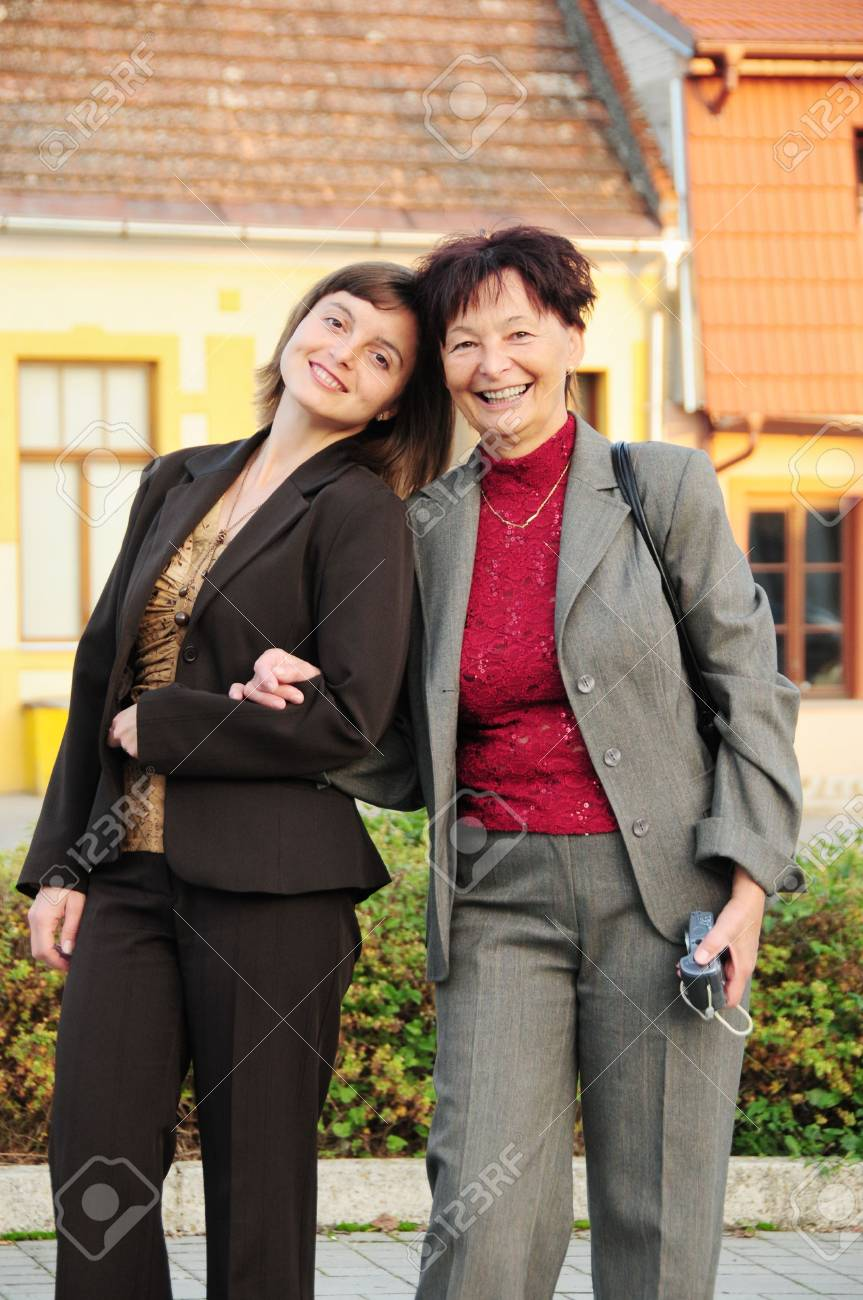 Mature woman has happy time with her daughter on street Stock Photo - 5984149