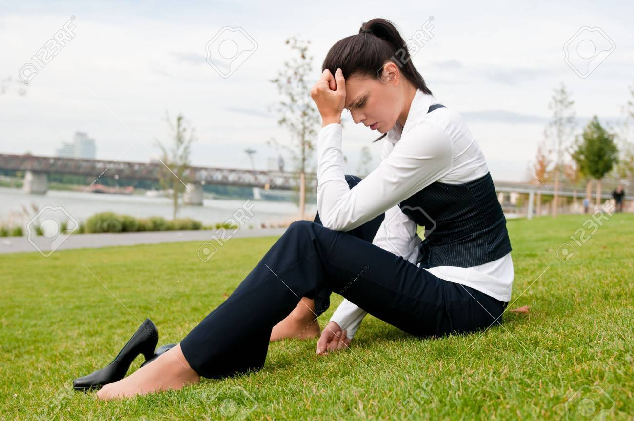 Depressed young business woman Stock Photo - 7955094