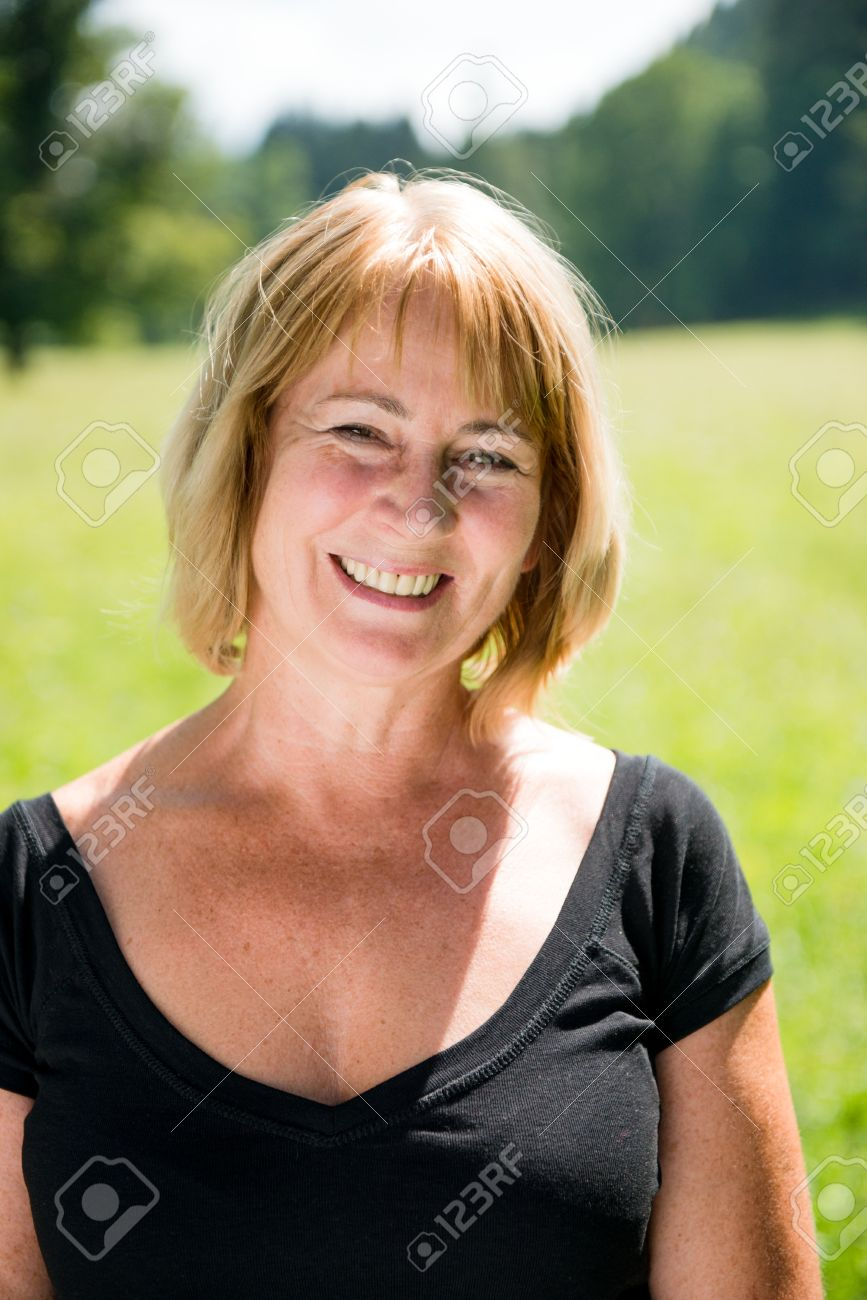 Smiling Mature Woman Outdoor Portrait Stock Photo 15198631