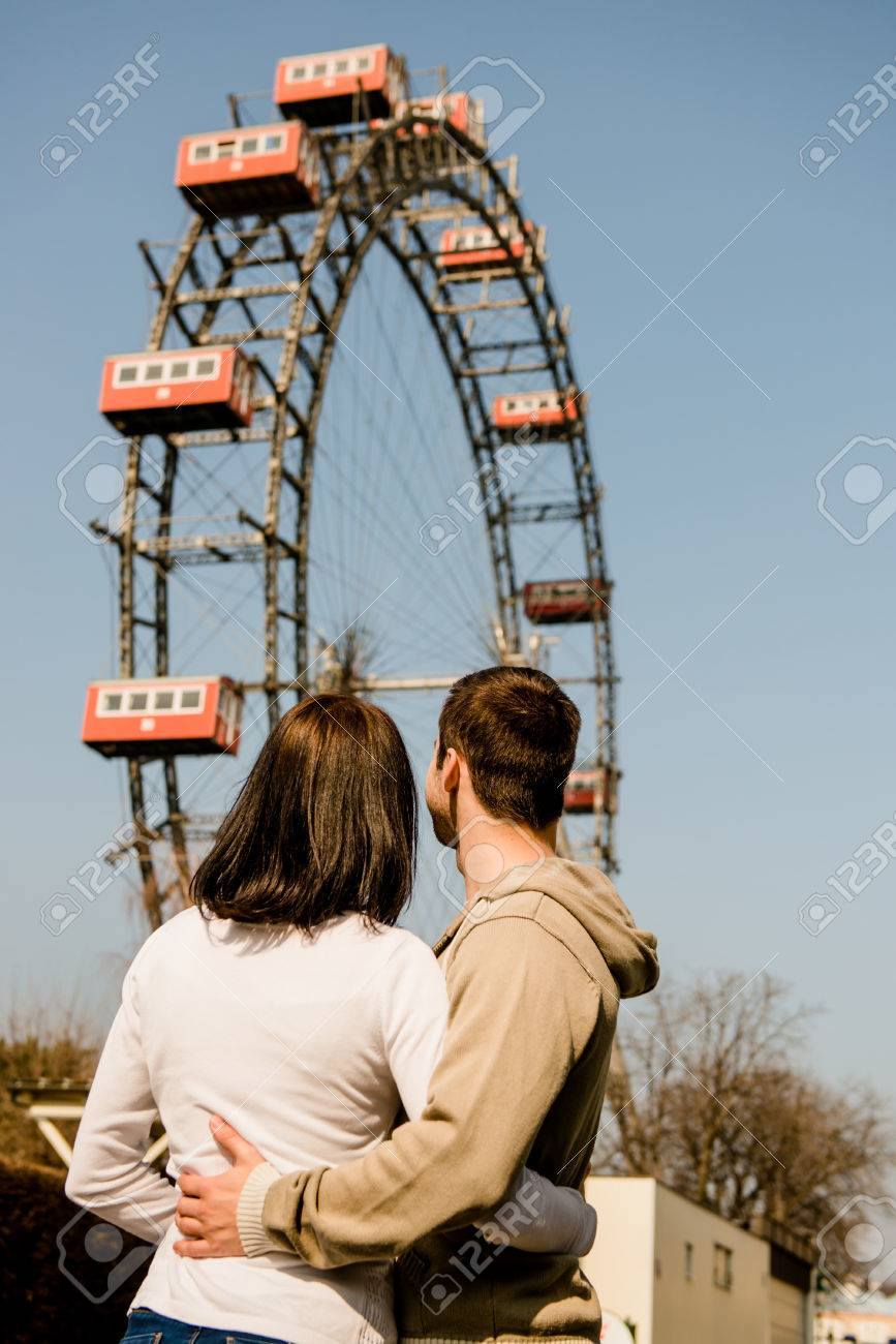 Vienna Prater Couple Embracing And Hugging In Front Of Ferris Stock Photo Picture And Royalty Free Image Image 51640588