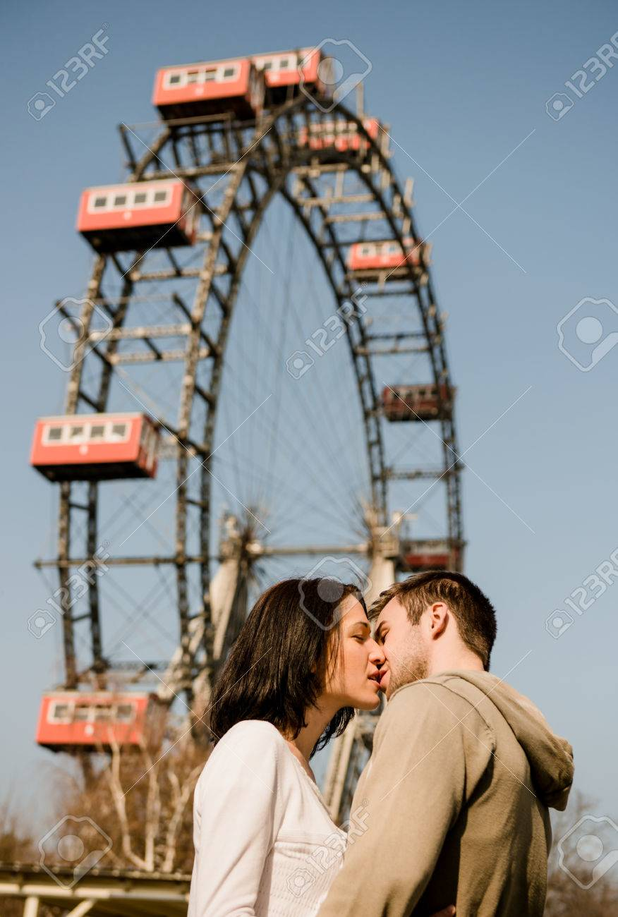 Vienna Prater Couple Kissing And Hugging In Front Of Ferris Stock Photo Picture And Royalty Free Image Image 51640590