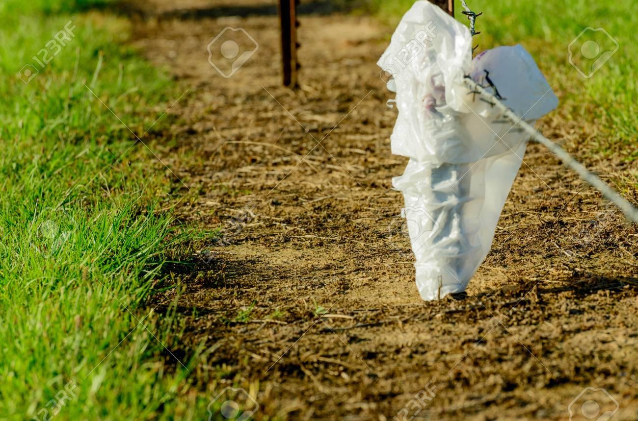 plastiktüte auf einem bauern-zaun gefangen lizenzfreie fotos, bilder
