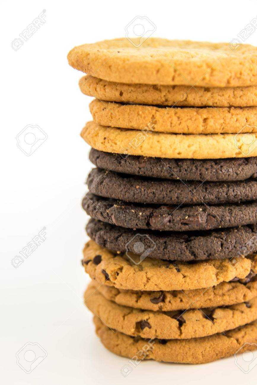 glass of milk and variety of cookies stacked Foto de archivo - 36651926