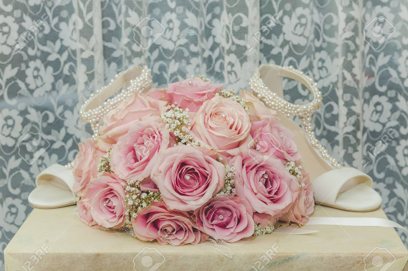 A Coloured Macro Photo Of A Detailed Bouquet With Pink Roses