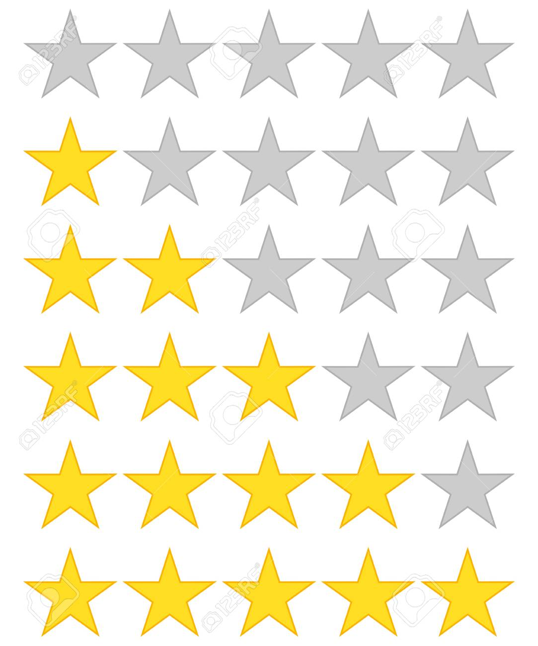 5 star rating icon vector illustration. Isolated badge for website or app - stock infographics - 97575366