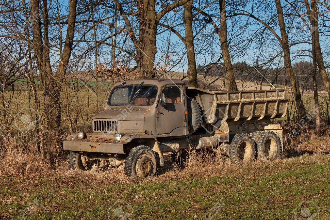 Old Rusty Czech Military Truck. Abandoned Rusty Car. Lorry And ...