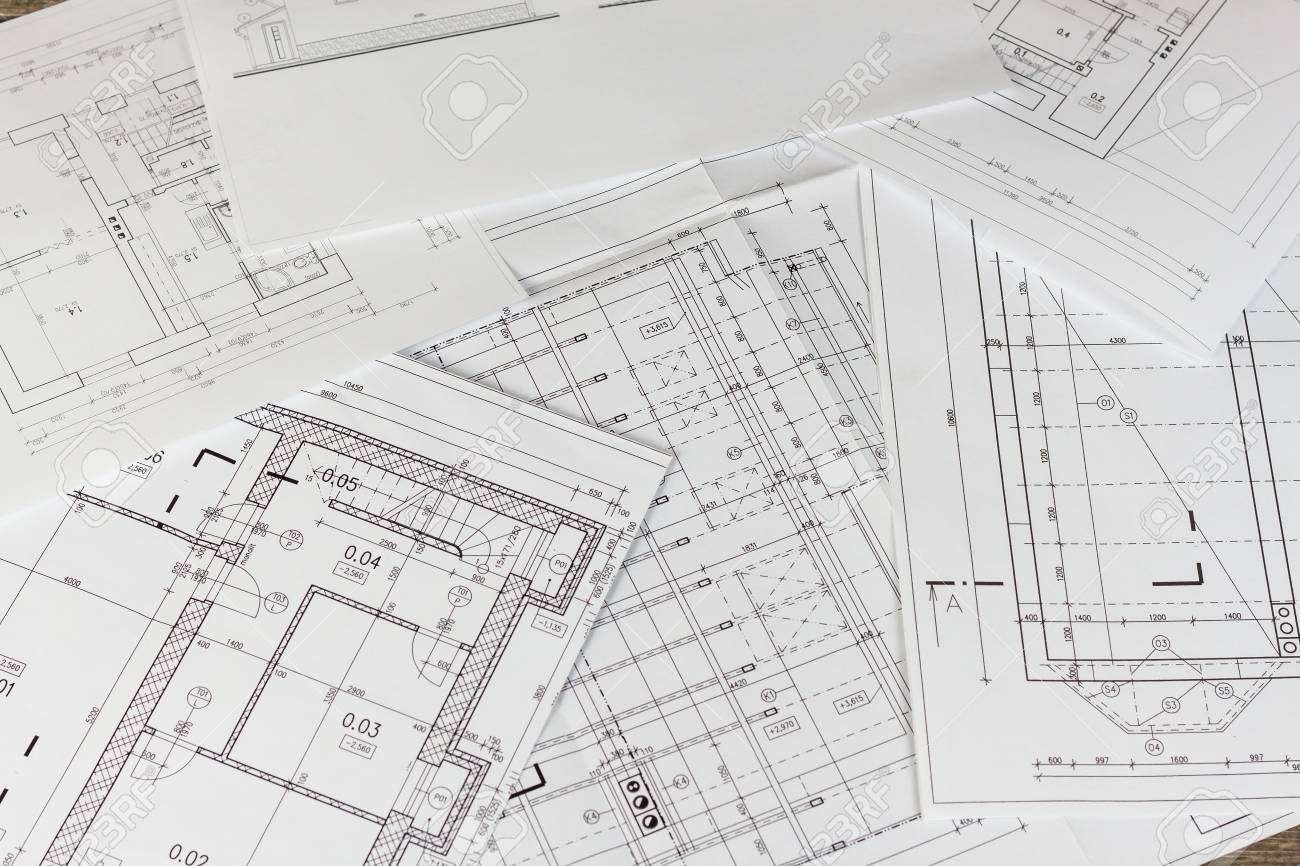 Plans Of Building Architectural Project Floor Plan Isolated