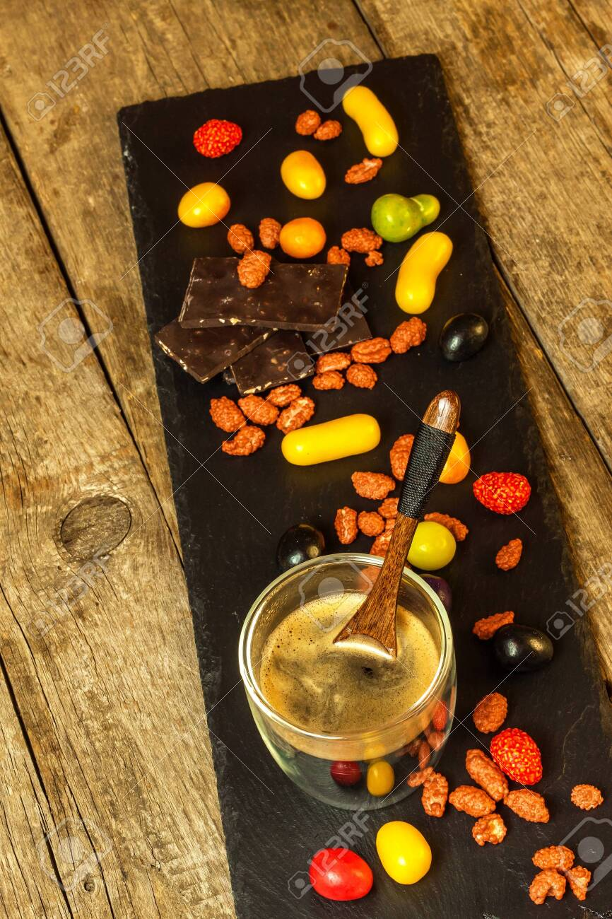 Coffee And Candies On The Table Multicolored Sweets Unhealthy