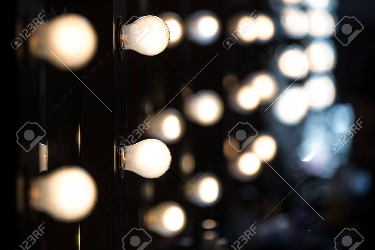 Make up Artists Mirrors With Light Bulbs Stock Photo Picture And