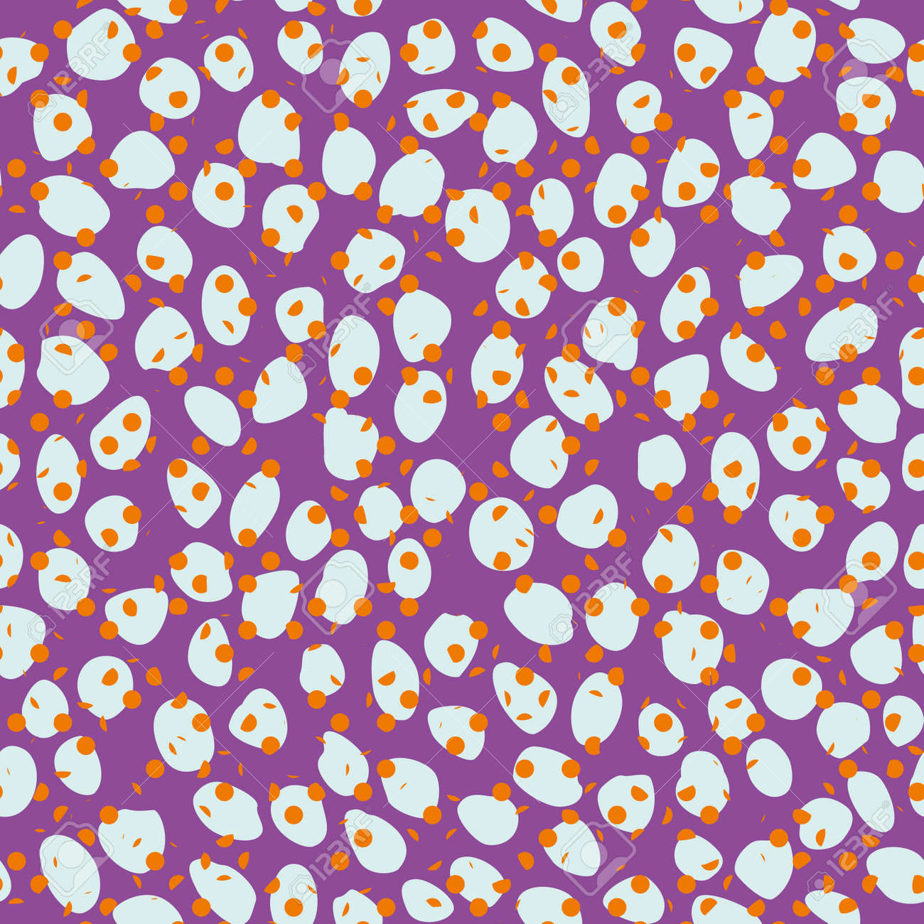 Pattern seamless of white dots and brown spots on violet background. Continuous design for the textile industry. - 161483597