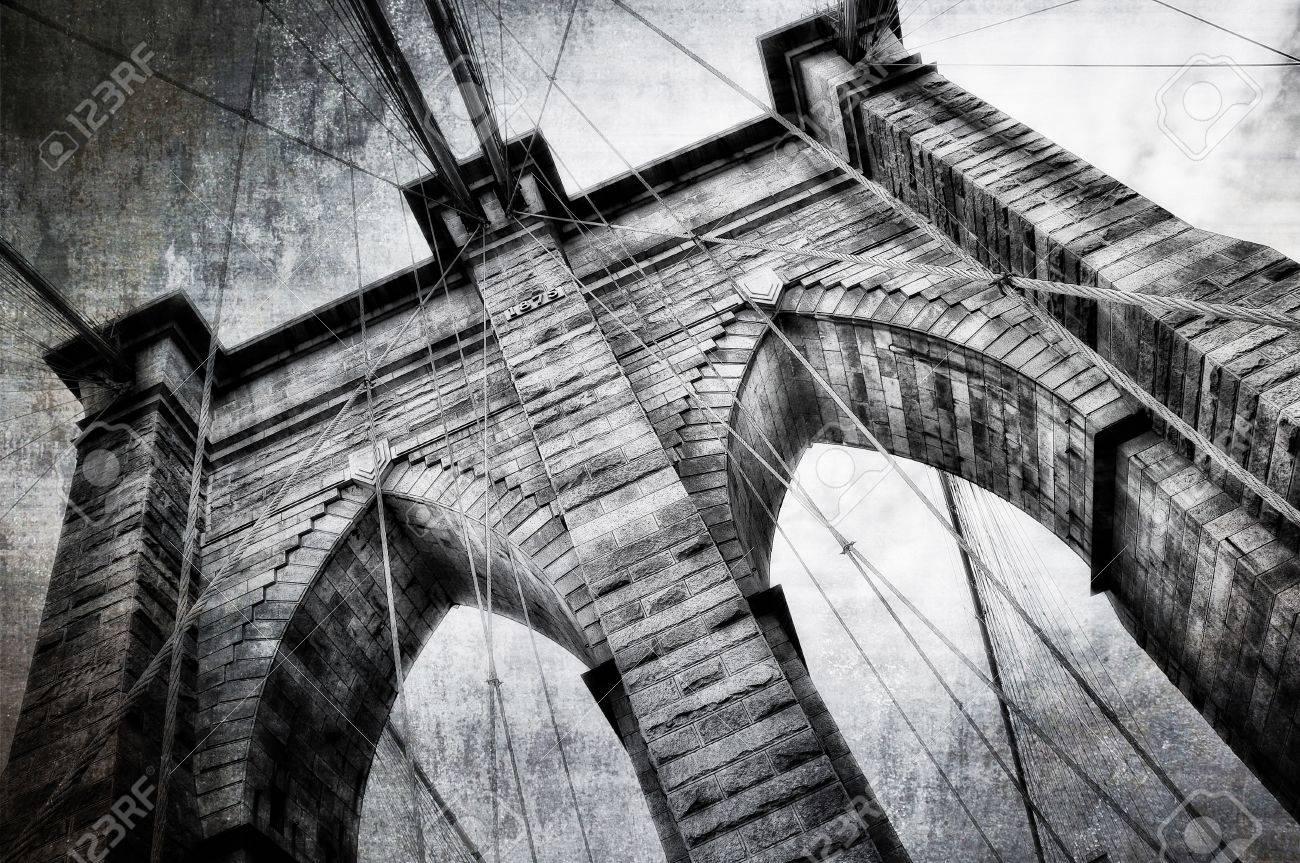 Brooklyn bridge detail view vintage black and white Stock Photo - 11792986