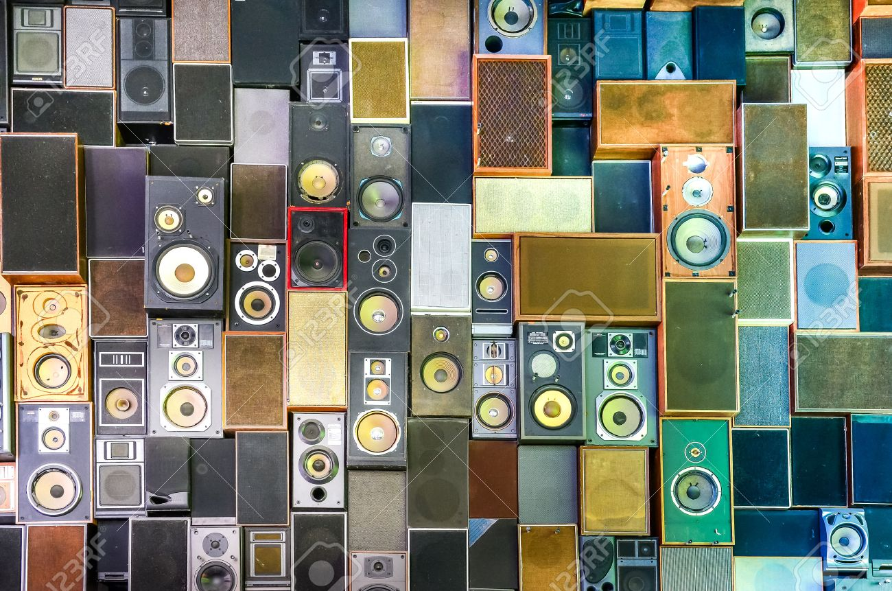 Music speakers hanging on the wall in retro vintage style Stock Photo - 25951099