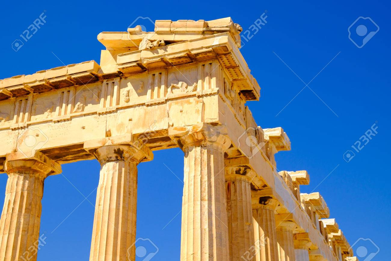 Architecture Detail Of Pantheon Temple In Acropolis Athens Greece Stock Photo