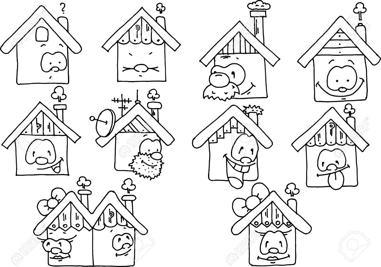 Happy Houses Monochromatic Drawing Royalty Free Cliparts Vectors