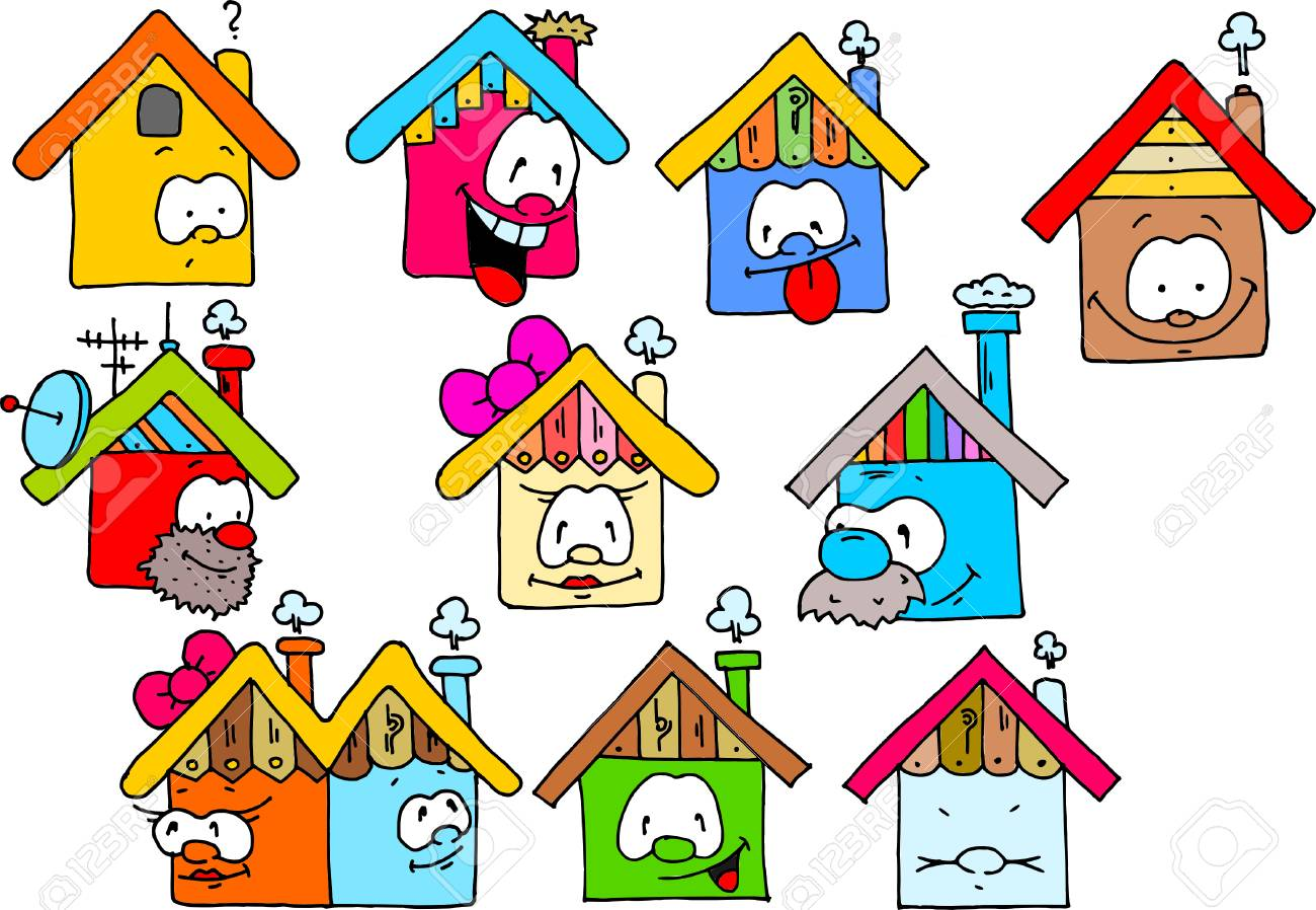 Happy Houses Color Drawing Isolated On White Background Royalty