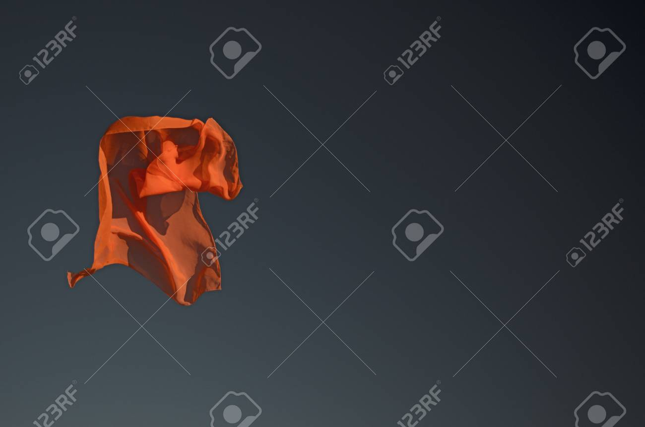 Orange Scarf Flying In The Sun With Sky Background Stock Photo Tying Diagram 68801473