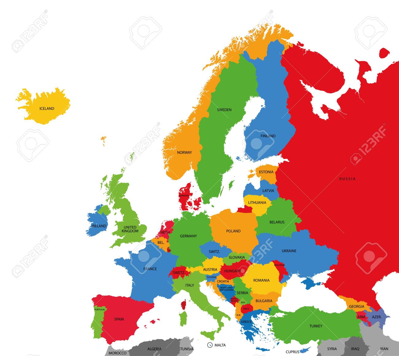 Detailed political map of Europe - 133998052