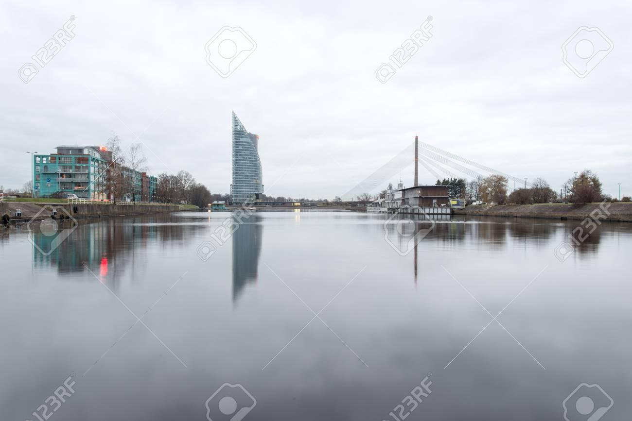 Riga, ラトビアの都市のパノラマ...