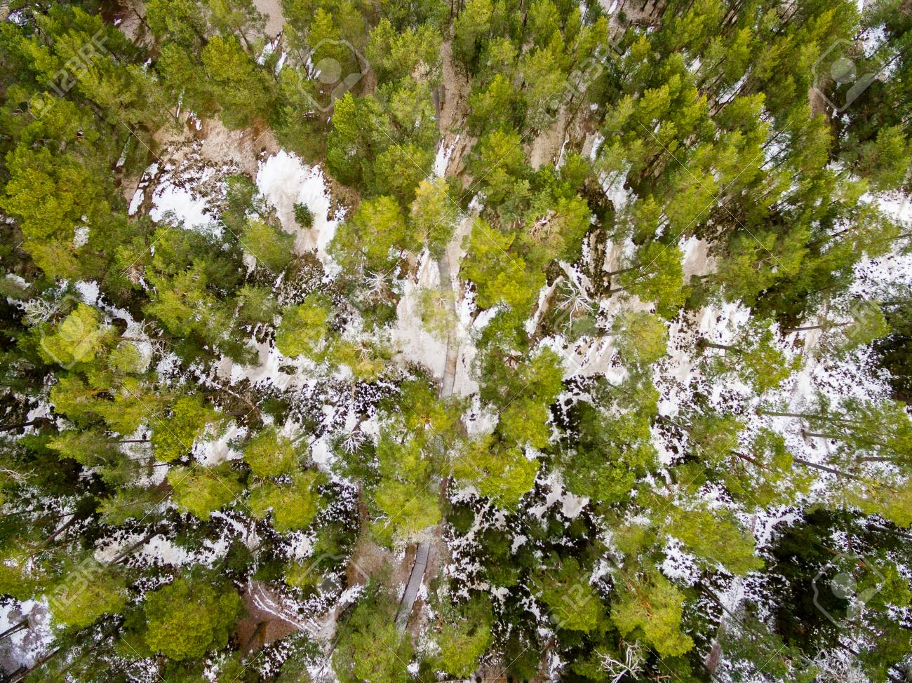 Aerial View Of Frozen Forest Lake In Winter Drone Photography Abstract Texture Stock Photo