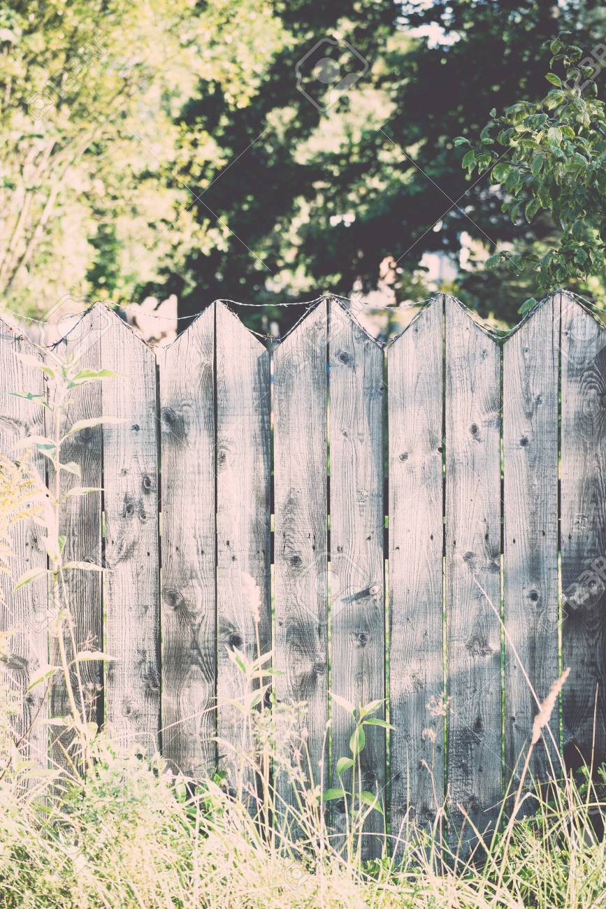 Old Wooden Fence With Barbed Wire On Top - Retro, Vintage Style ...