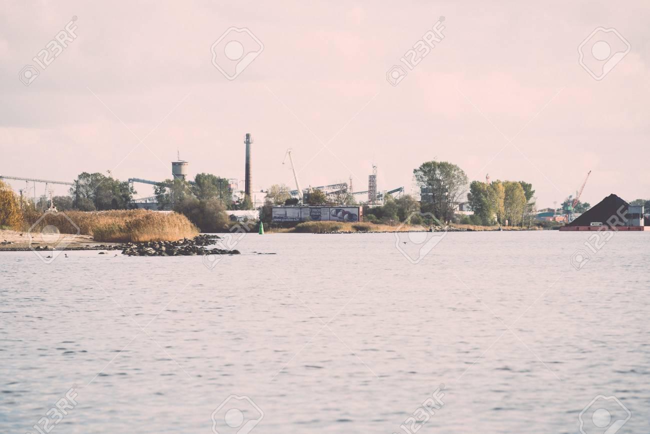 a320cfdd613 Cargo Dock And Cargo Ships In Seaport In Riga. Latvia - Retro ...