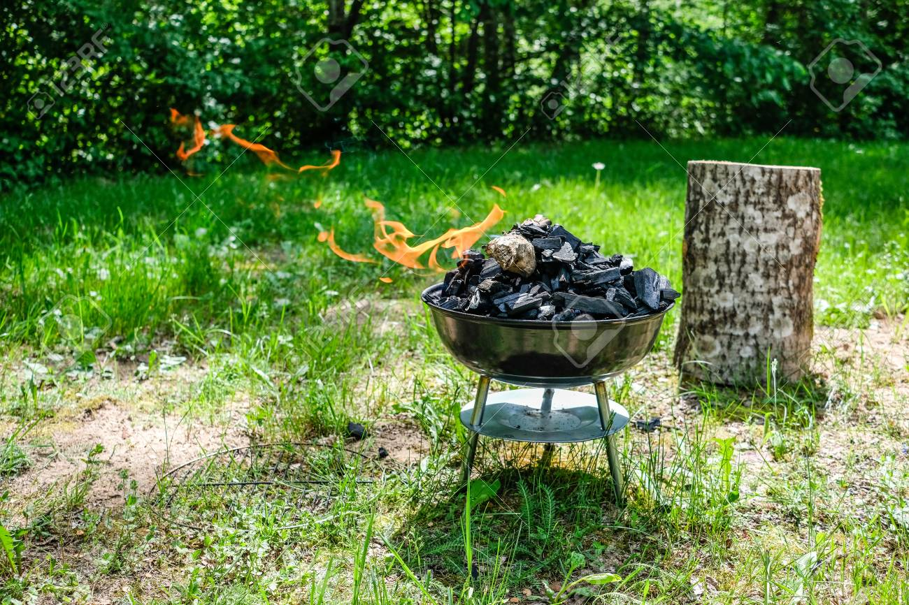Fire On Barbecue Charcoal Grill Grilling Food On A Weber Type Stock Photo Picture And Royalty Free Image Image 103865771