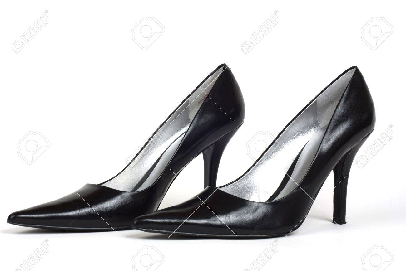 White And Black High Heel Shoes