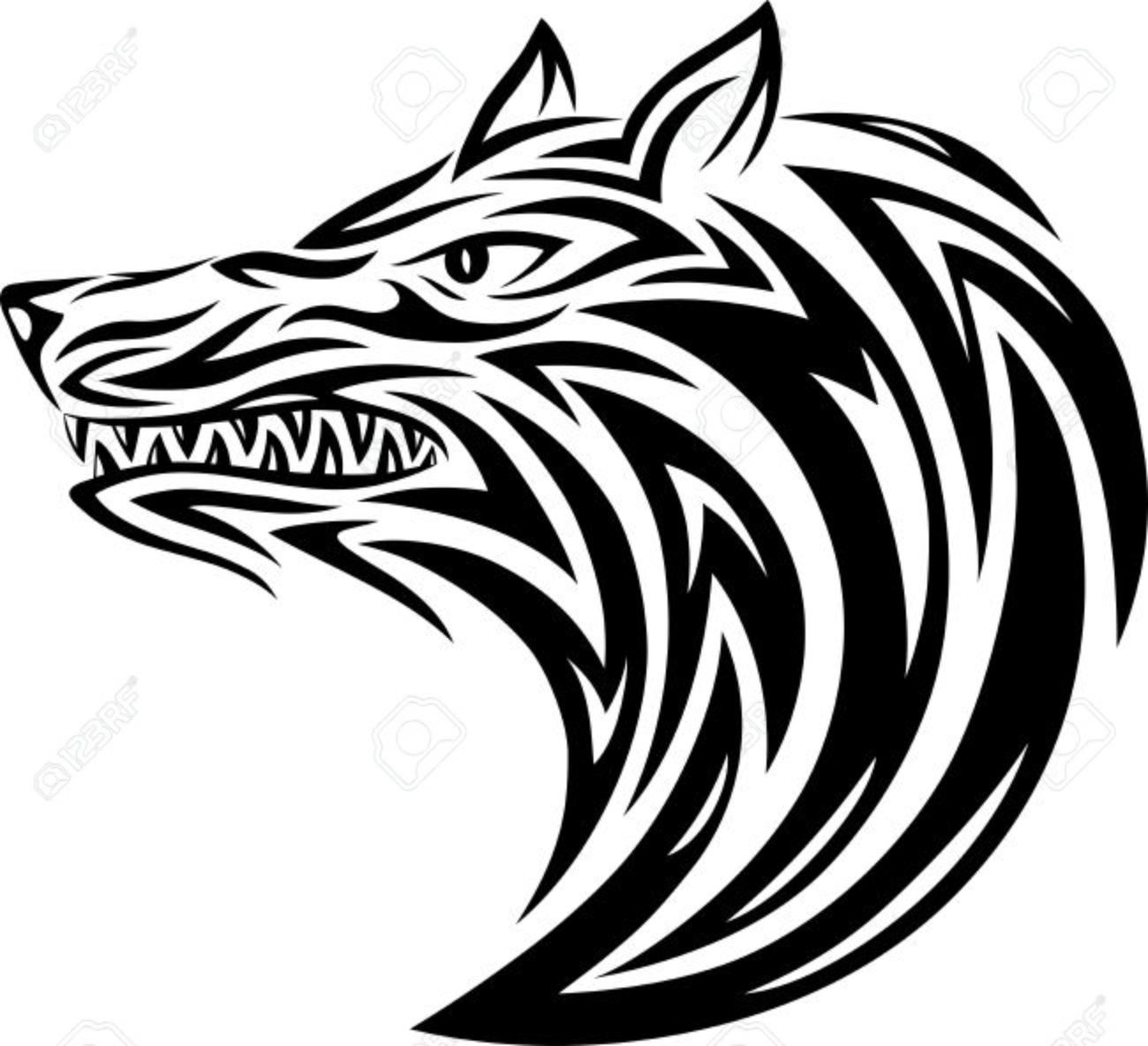 59f03c933c14a Wolf Head Tribal Tattoo Design Vector File Royalty Free Cliparts ...