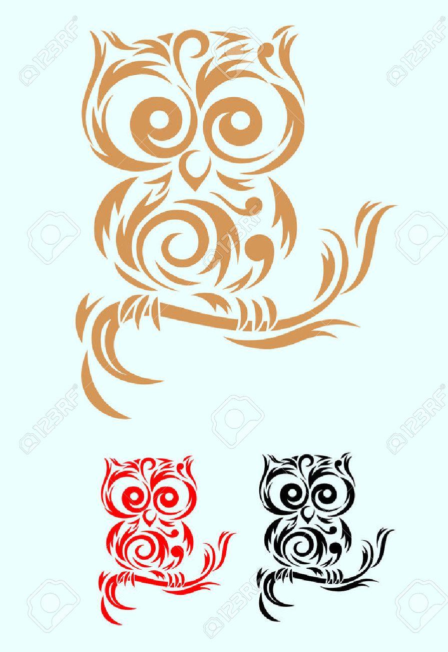 Fichier Vectoriel Art D Oiseau De Hibou Tribal Et Facile A