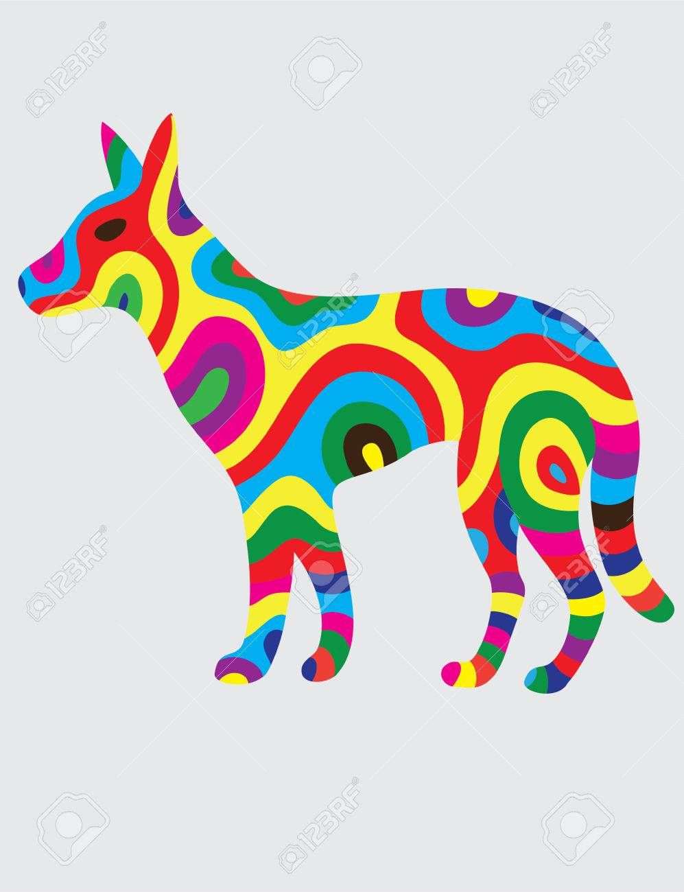 Dog Abstract Color Art Vector Illustration