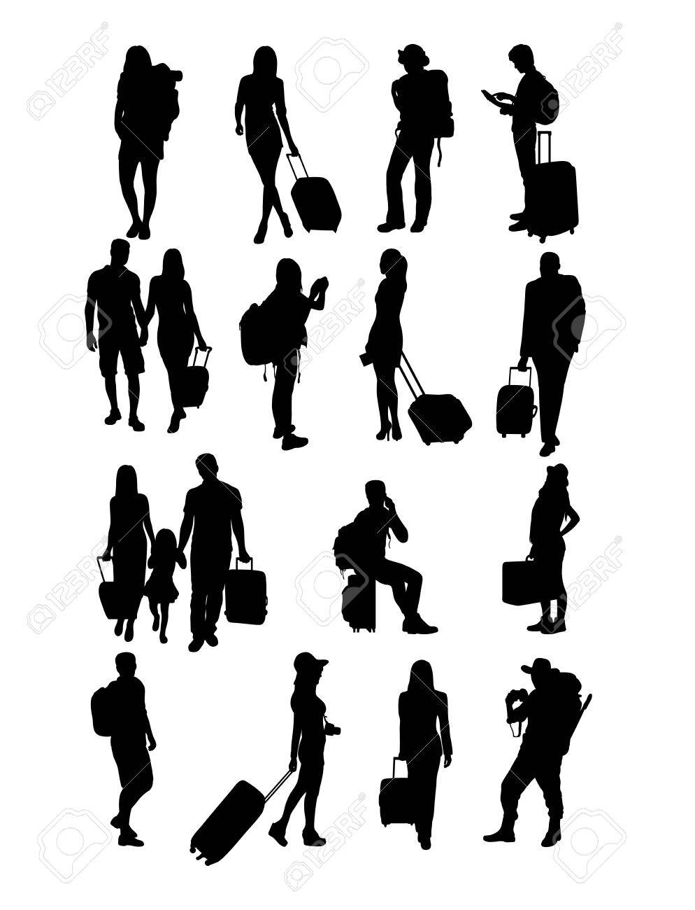 Traveling People Silhouettes, art design - 57566925