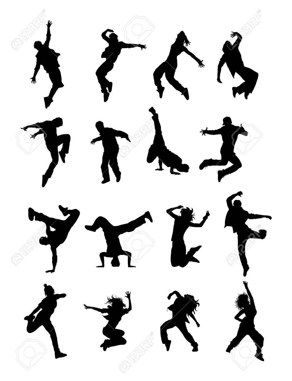 Hip Hop Modern Dancers Silhouettes - 59095767