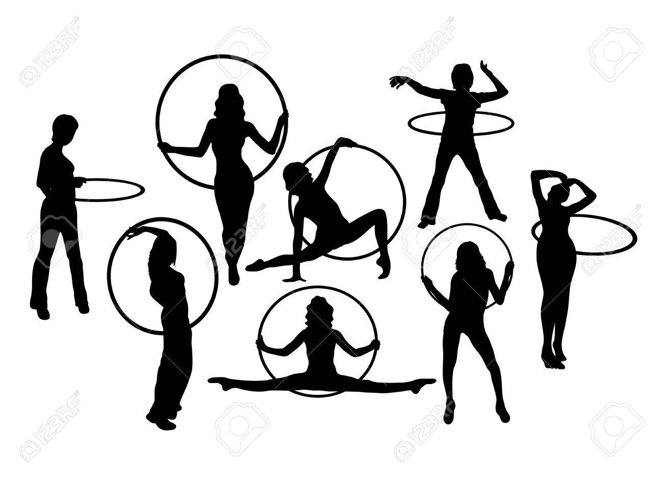 Line Art Vector Design : Hula hoop dancer activity silhouettes art vector design royalty