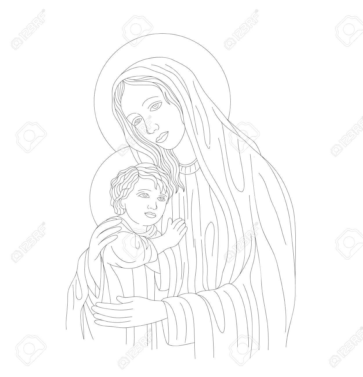 Vettoriale Vergine Maria Con Gesù Bambino Disegno Vettoriale Arte