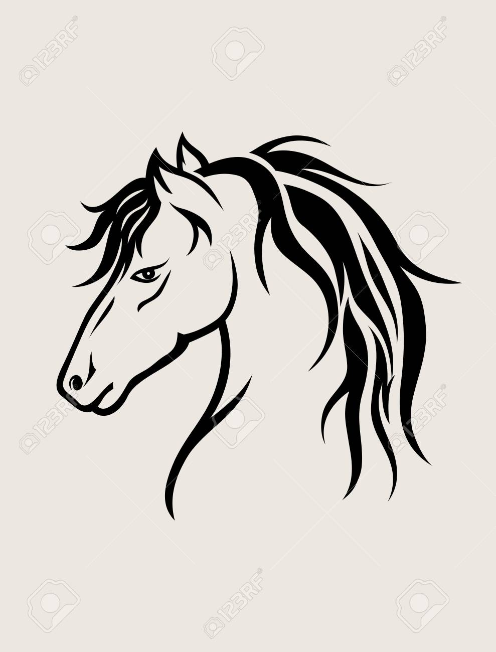 Horse Face Art Vector Design Royalty Free Cliparts Vectors And Stock Illustration Image 94243629
