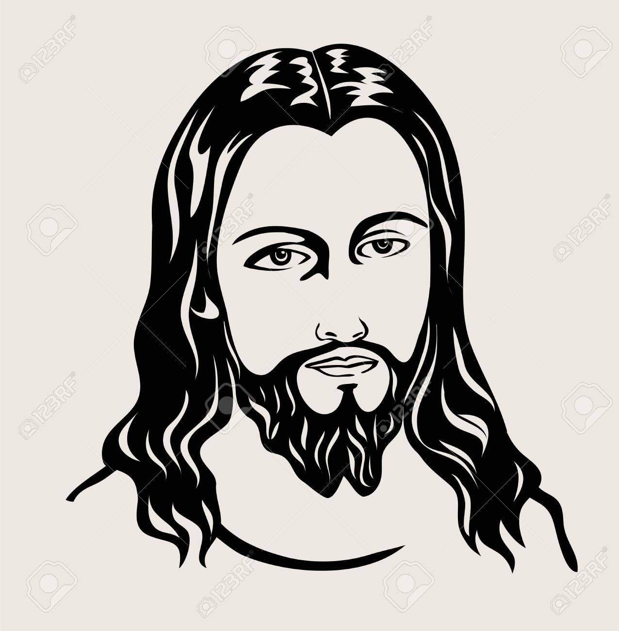 Jesus christ sketch art design on silhouette black and white illustration stock vector 97724372