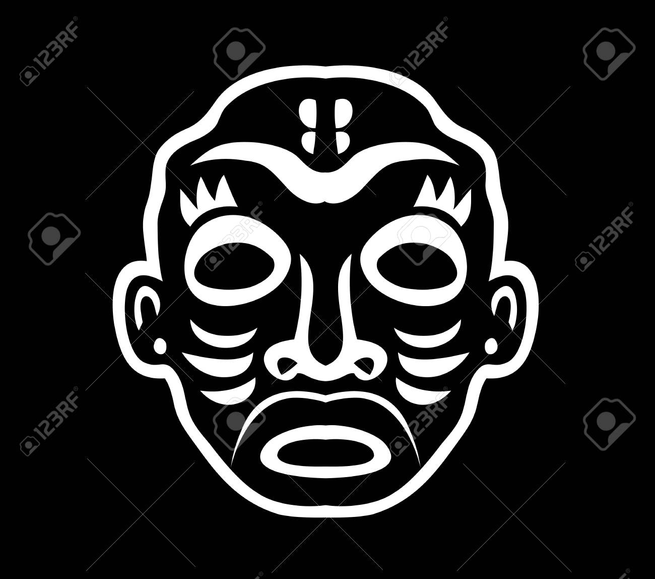 Black and white mask sticker art vector design stock vector 102653994