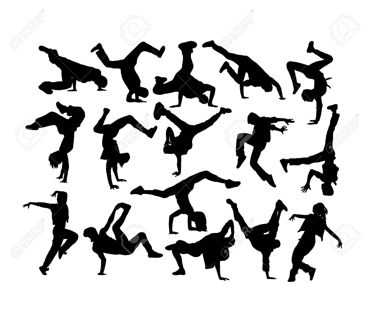 Happy Dancer Silhouettes, art vector design - 117470603