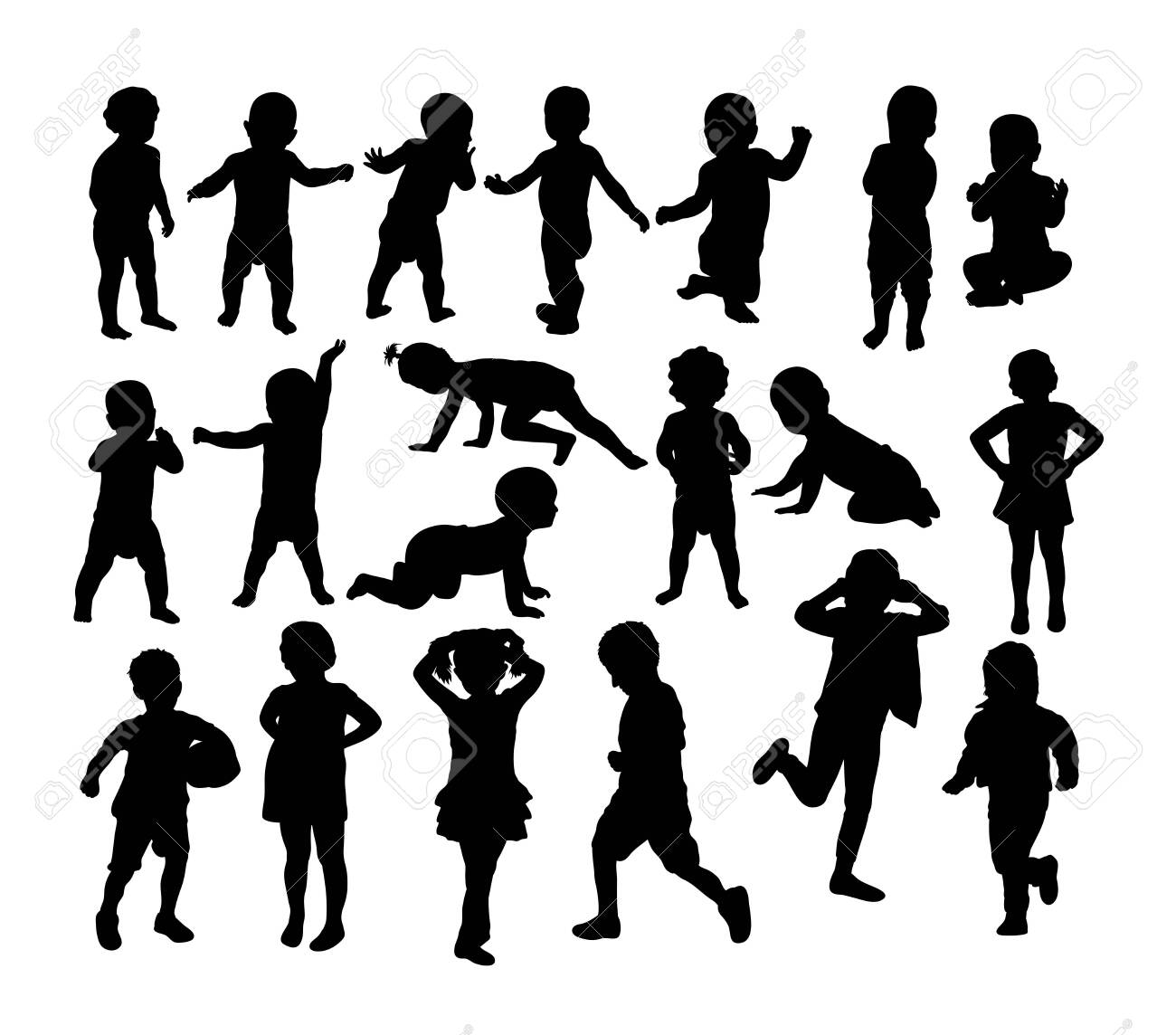 Baby and children Silhouettes, art vector design - 131445517