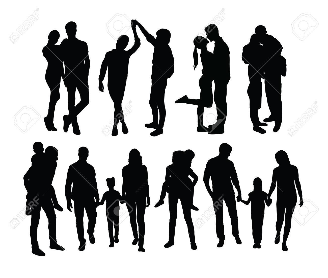 Happy Family Silhouettes, art vector design - 131447333
