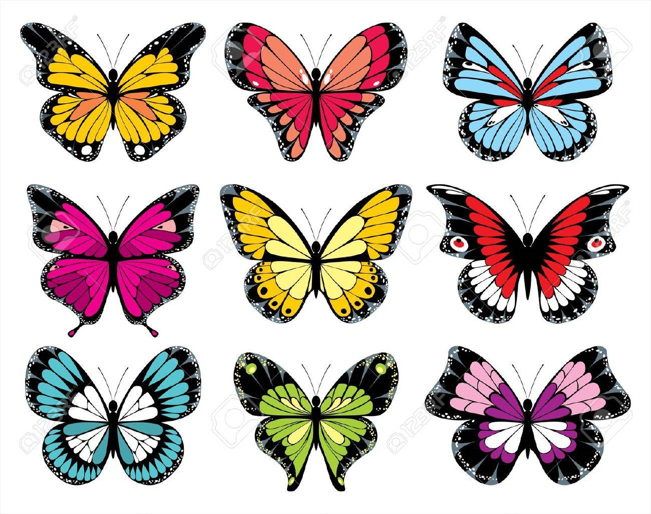 stylized butterfly icons Stock Vector - 14257302