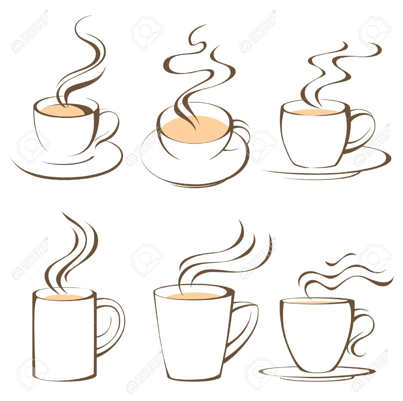 Stylized Coffee And Tea Cups Royalty Free Cliparts, Vectors, And ...