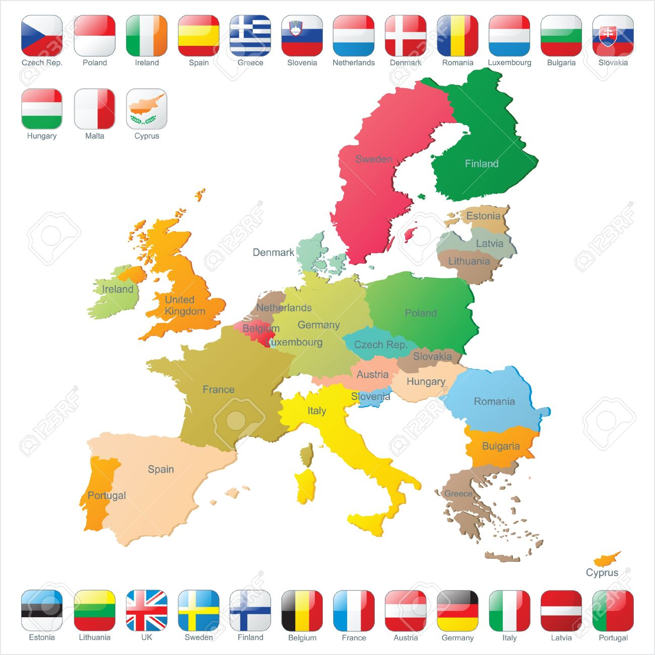The European Union map with flags Stock Vector - 14269875