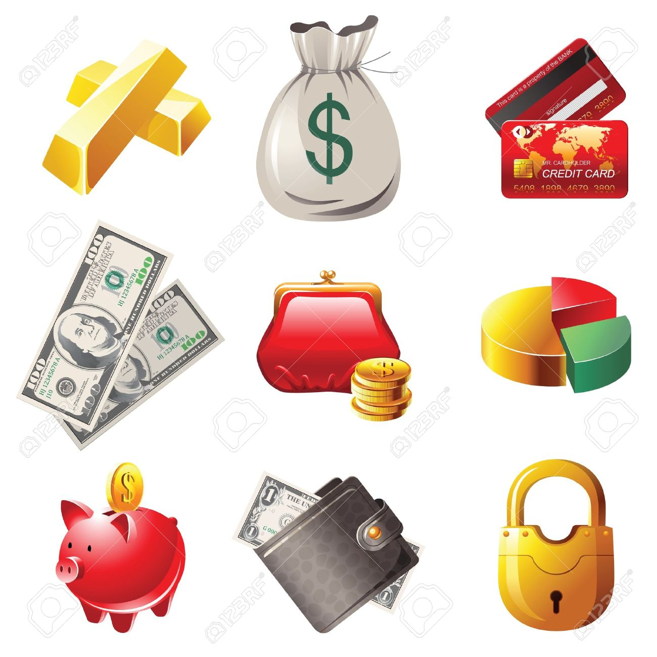9 highly detailed money icons Stock Vector - 13869931