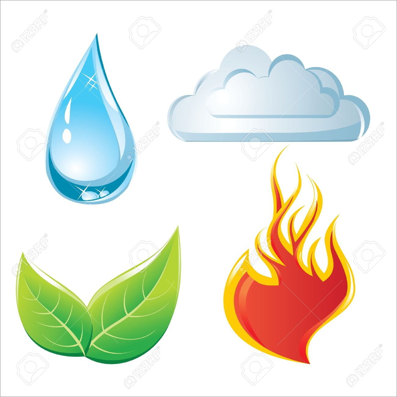nature elements icons Stock Vector - 14270062