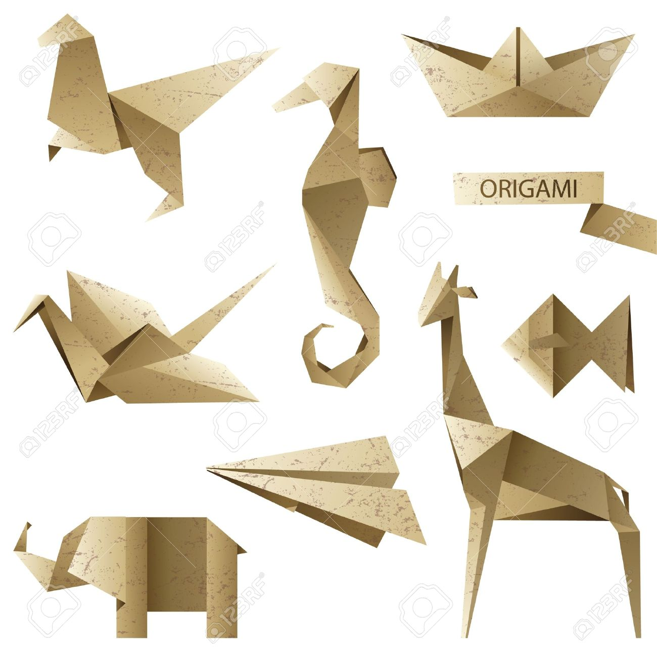 old-fashioned origami set Stock Vector - 13870089