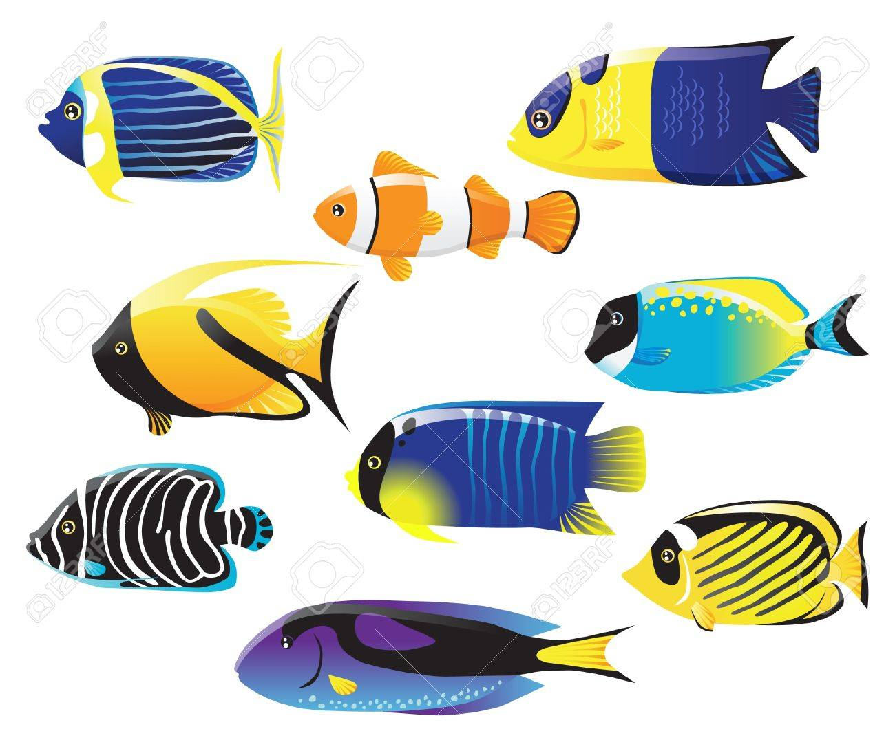 sea fish icons royalty free cliparts vectors and stock