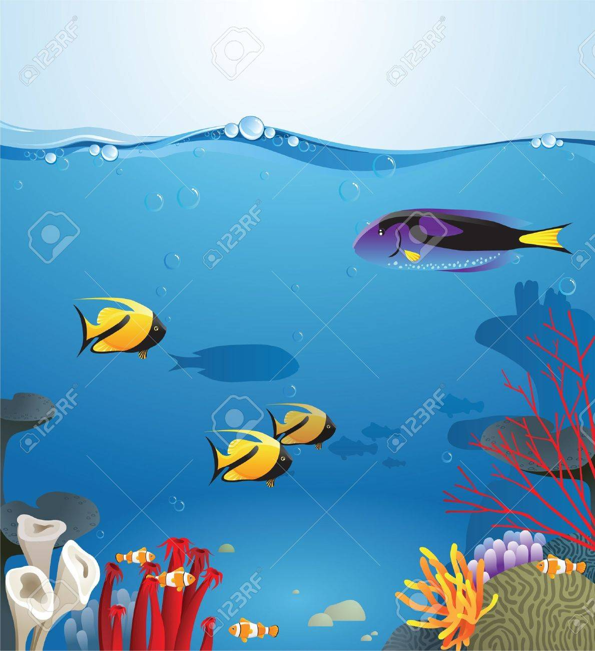 Sea landscape illustrating underwater life Stock Vector - 13876362